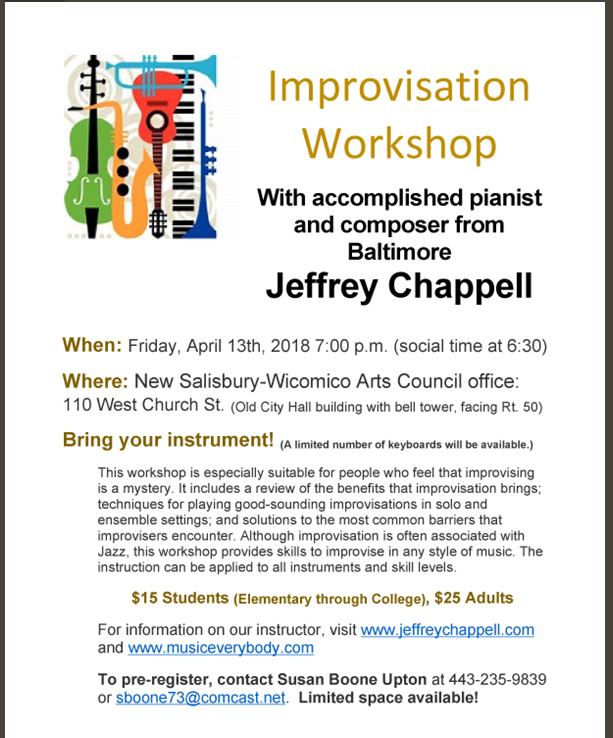 Improvisation Workshop with Jeffery Chappell – Downtown Salisbury, MD